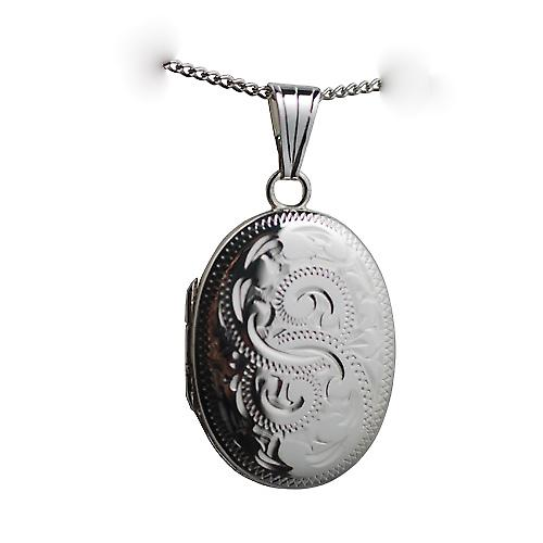 Silver 27x20mm hand engraved oval Locket with a curb chain