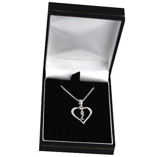 Silver 18x18mm initial Z in a heart with Rolo chain