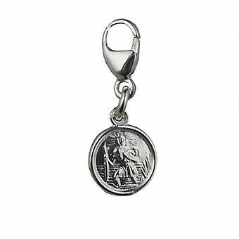 Sølv 8mm runde St Christopher charme på en Hummer udløser