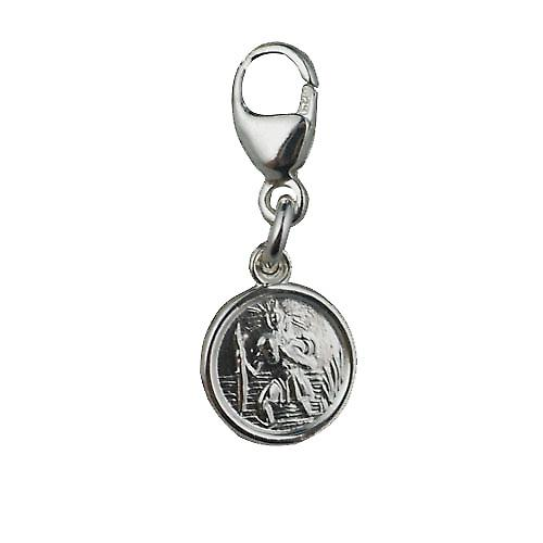 Silver 8mm round St Christopher Charm on a lobster trigger