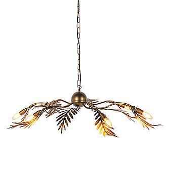 QAZQA colgante Vintage lámpara hoja 6 oro - Botanica