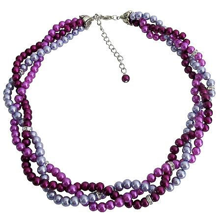 Custom Bride Twisted Braided Necklace Lilac Purple Plum Pearls