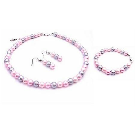Choose Your Wedding Prom Jewelry Dashing Pink Combo Necklace Set