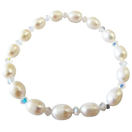Freshwater Pearls Stretchable Bracelet w/ Swarovski AB Crystals
