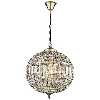 Spring Lighting - Craven Arms Large Antique Brass Round Chandelier With Crystals  GJOD044BC1TUBU