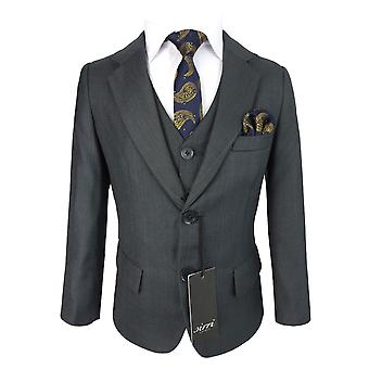 Boys Regular Fit Pageboy Dark Grey 5 Piece Suit