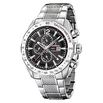 Festina | Mens Chronograph & Dual Time | Black Dial | Steel Bracelet F20439/4 Watch