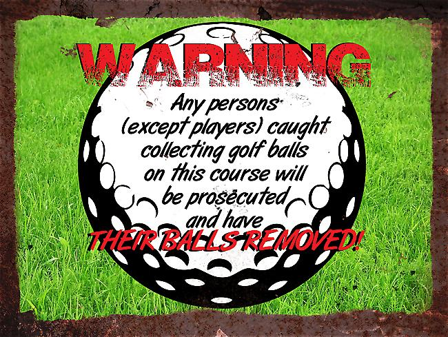 Vintage Metal Wall Sign - Warning Golf