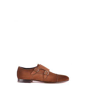 Santoni Brown Suede Monk Strap Shoes