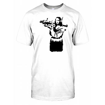 Banksy - Mona Lisa Avec Anti Air Missile - Urban Artiste Mens T Shirt