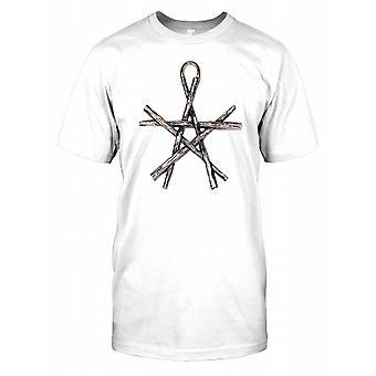 Metallic Stick Pentagram Mens T Shirt