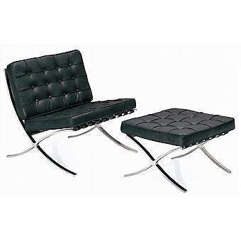 Real Leather Barcelona Lounge Chair and Ottoman Stool - Mies Van Der Rohe