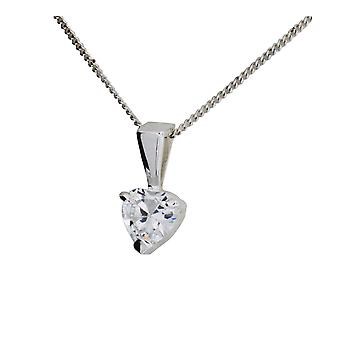 Toc Sterling Silver Small Heart Cz Pendant on 18 Inch Chain