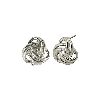 Eternal Collection Entwined Sterling Silver Classic Stud Pierced Earrings