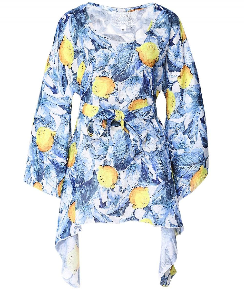 Luisa Positano Vanessa Lemon Print Kaftan Dress