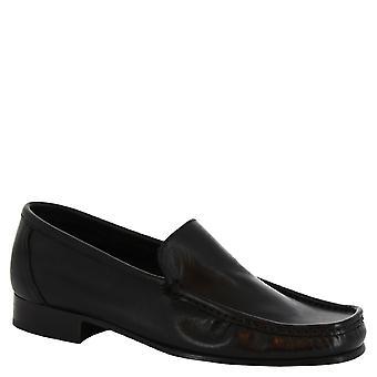 Cuir de veau noir mocassins slip-on de Leonardo chaussures pieds carrés à la main