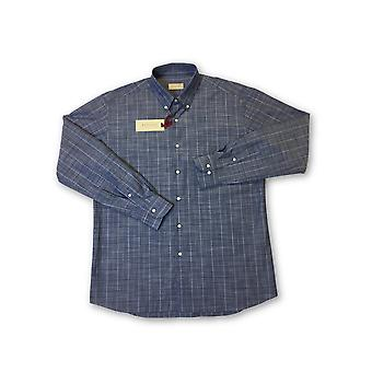 Regent door Pancaldi & B shirt in blauw tattersall