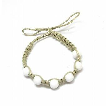 The Olivia Collection Beige Cotton Friendship Bracelet With White Beads