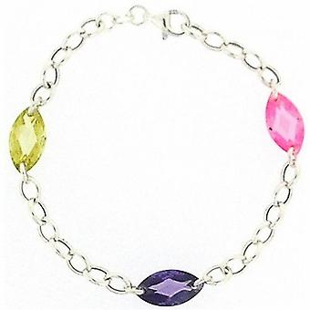 TOC Sterling Silver Pink Lime and Purple Crystal Beads Bracelet 7.5
