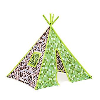 Kinder-Pixel Green Brown Print Foldaway Play Tent Teepee