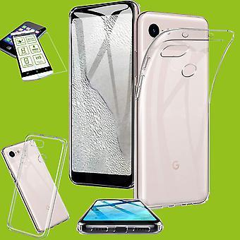 Silikon case transparent + 0,26 H9 hardt glass for Google pixel 3a XL veske deksel
