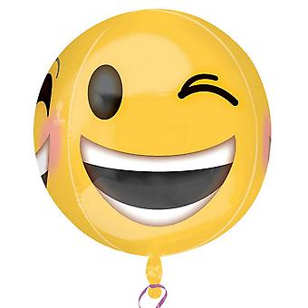 Anagram Winking Emoji Supershape Orbz Round Balloon