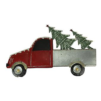 Red Metal Christmas Truck Hauler Holiday Wall Hanging, Trees