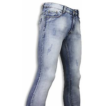 Basic Jeans - Light Blue Damaged Slim Fit - Licht Blauw