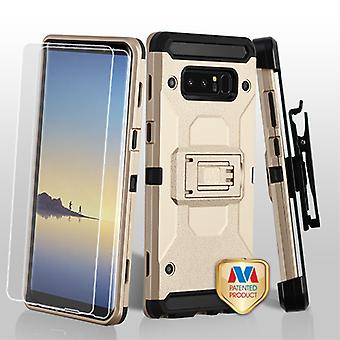 MYBAT Gold/Black 3-in-1 Kinetic Hybrid Protector Cover Combo (w/ Holster)(Twin Screen Protectors) for Galaxy Note 8