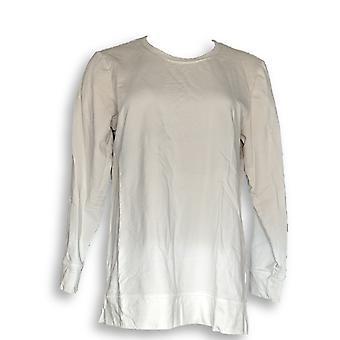 Denim & Co. Women's Top French Terry Dip Dye Long-Sleeve Beige A346977