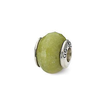 925 Sterling Silber poliert Antike Finish Reflexionen Apfel grün Quarz Stein Perle Charme