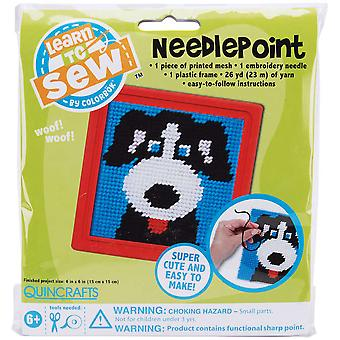 Dog Learn To Sew Needlepoint Kit 6
