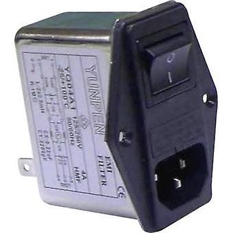Mains filter + IEC socket, + switch, + 2 fuses 250 Vac 4 A 2.5 mH (L x W x H) 68 x 52.5 x 61 mm Yunpen YQ04A1 1 pc(s)