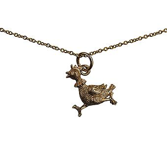9ct Gold 17x15mm Hen Pendant with a cable Chain 16 inches Only Suitable for Children