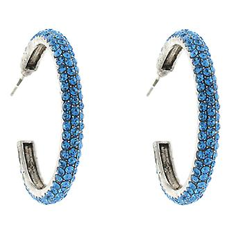 Classic Sapphire Swarovski Crystal Fashion Hoop Earrings 3.5 cms