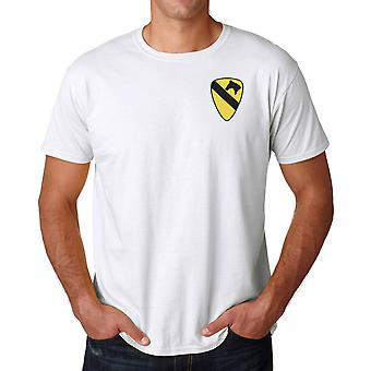 US Army 1st Cavalry insignier broderad Logo - ringspunnen bomull T Shirt