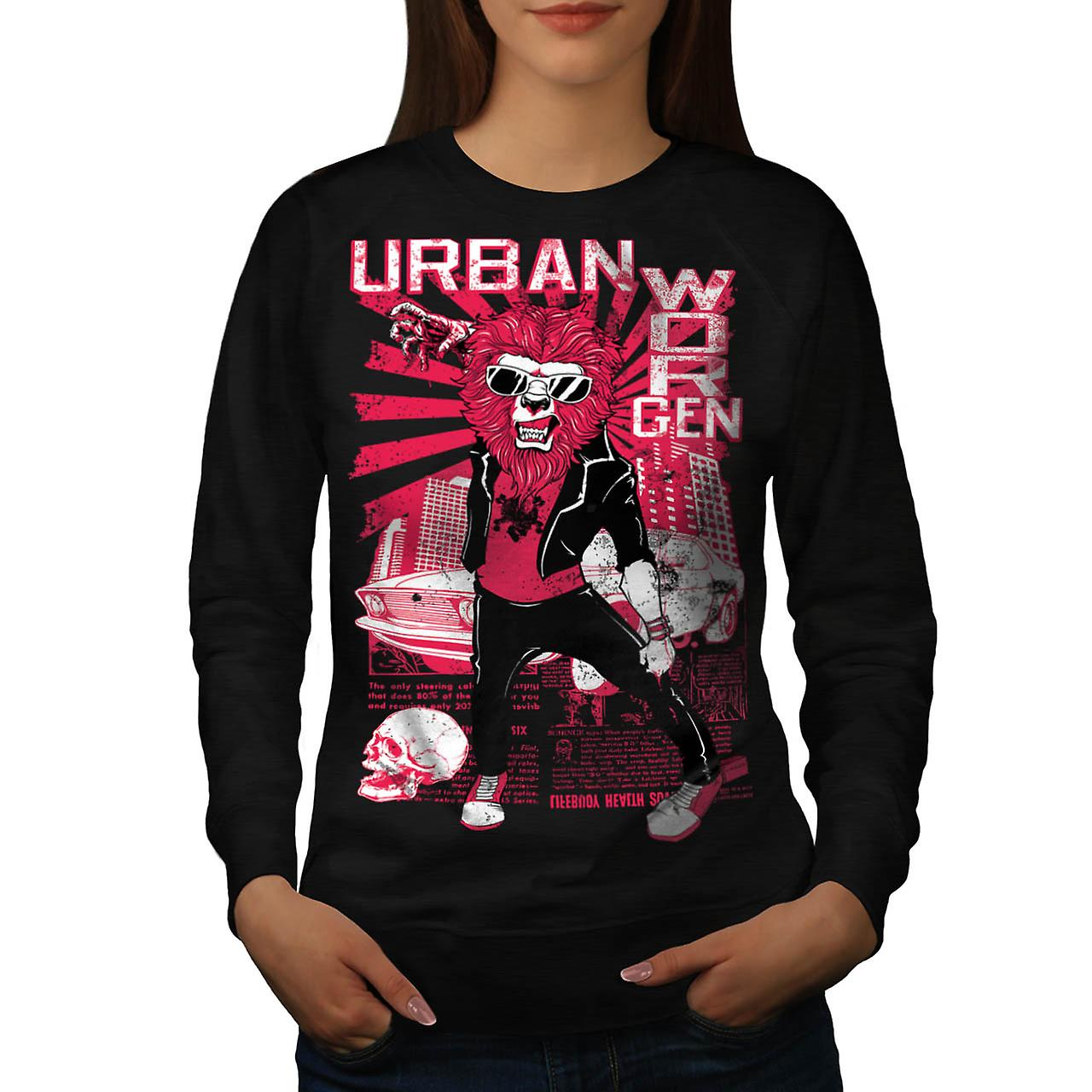 Urban Jungle Lion Claw City Life Women Black Sweatshirt | Wellcoda