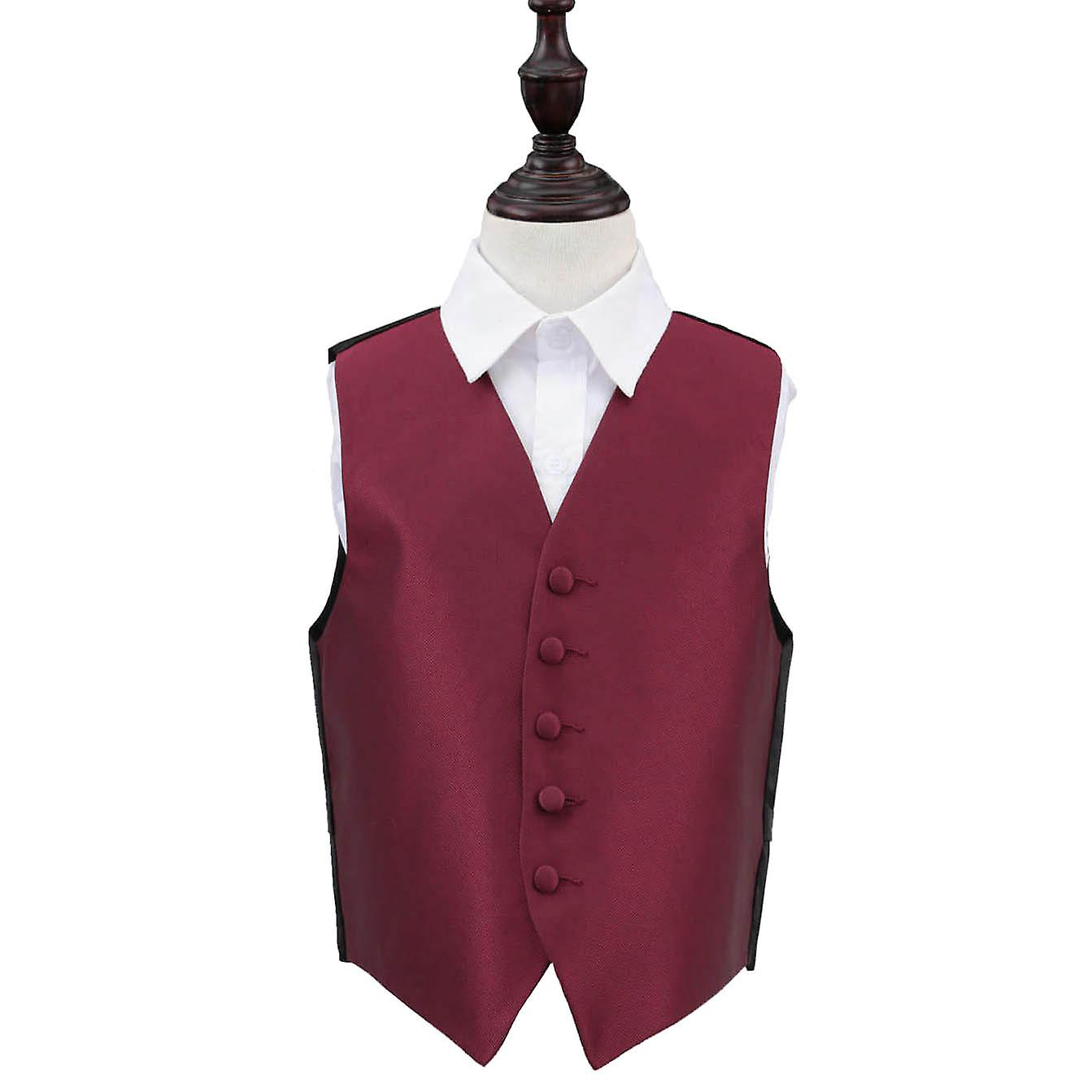 Burgundy Solid Check Wedding Waistcoat for Boys