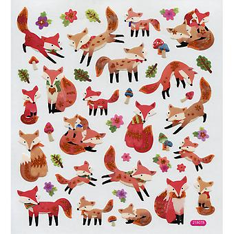 Multicolored Stickers-Fun With Foxes SK129MC-4548