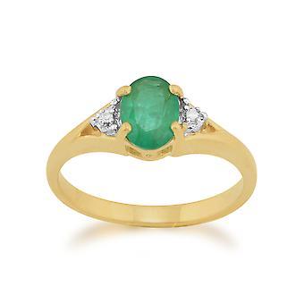9ct geel gouden 0,75 ct natuurlijke Emerald & Diamond één steen Ring