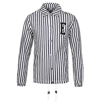 Edwin Blue & White Striped Denim Coach Jacket