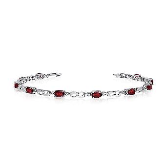 10K White Gold Oval Garnet and Diamond Link Bracelet