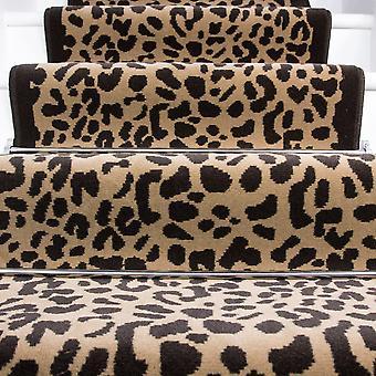80cm bredde - Beige & brun Retro Leopard Print trappe tæppe
