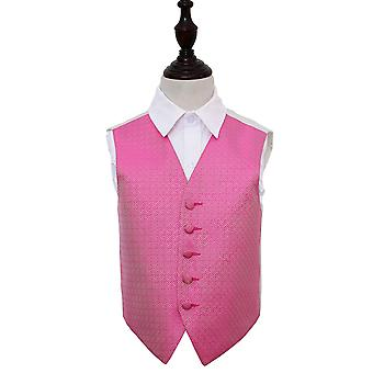 Boy's Fuchsia Pink Greek Key Patterned Wedding Waistcoat