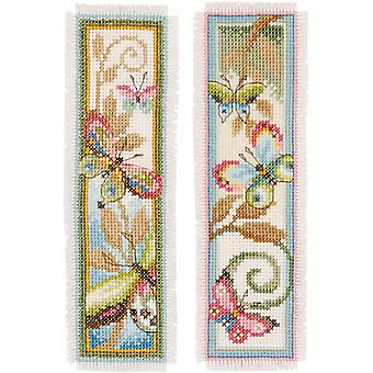 Deco Butterflies Bookmarks On Aida Counted Cross Stitch Kit-2