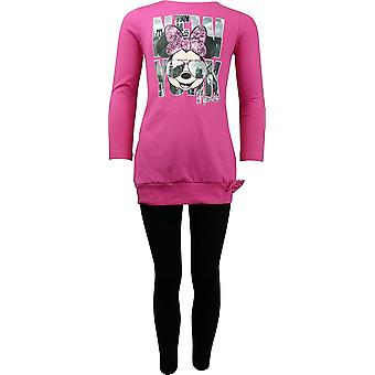Mädchen Disney Minnie Mouse Langarm Tunika Top & Leggings Set HO1196