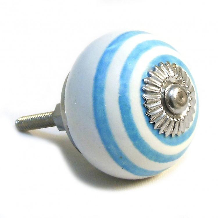 White / Blue Stripes Ceramic Cupboard Knob