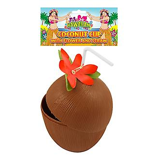 Hawaiian Beach Party Coconut Cocktail Drinking Cup with Flower and Straw