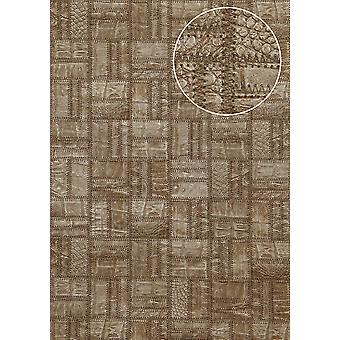 Embossed wallpaper Atlas STI-5101-4 non-woven wallpaper embossed in leather optics shimmering Brown green brown khaki-grey bronze 7,035 m2