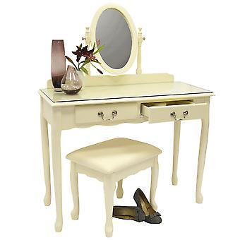 Loire - Solid Wood Dressing Table With Mirror And Stool - Cream